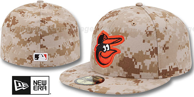 Orioles 2013 'STARS N STRIPES' Desert Camo Hat by New Era : pictured without stickers that these products are shipped with