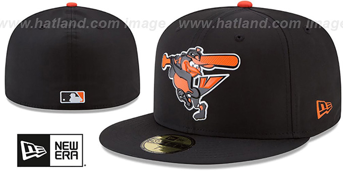 Orioles '2018 PROLIGHT-BP' Black Fitted Hat by New Era : pictured without stickers that these products are shipped with