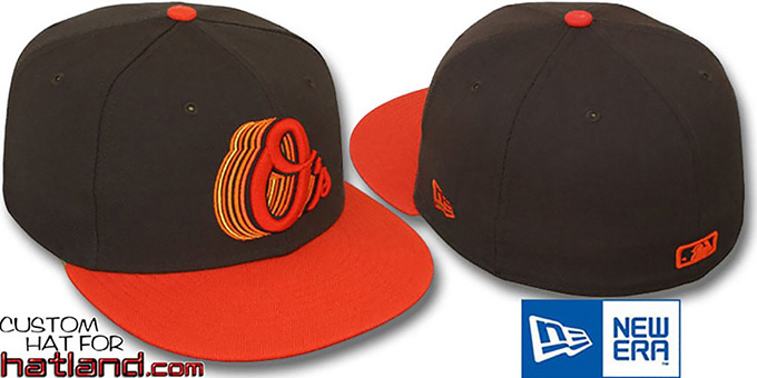Orioles '2T ALT SCRIBBLE FADE' Brown-Orange Fitted Hat by New Era : pictured without stickers that these products are shipped with