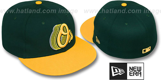 Orioles '2T ALT SCRIBBLE FADE' Green-Gold Fitted Hat by New Era : pictured without stickers that these products are shipped with