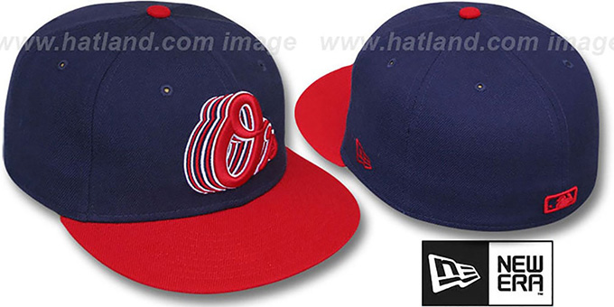Orioles '2T ALT SCRIBBLE FADE' Navy-Red Fitted Hat by New Era : pictured without stickers that these products are shipped with