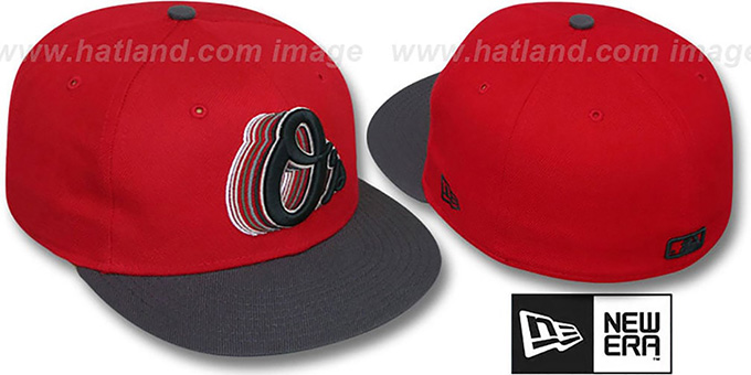 Orioles '2T ALT SCRIBBLE FADE' Red-Grey Fitted Hat by New Era : pictured without stickers that these products are shipped with