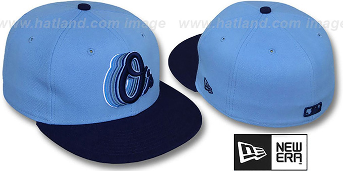 Orioles '2T ALT SCRIBBLE FADE' Sky-Navy Fitted Hat by New Era : pictured without stickers that these products are shipped with
