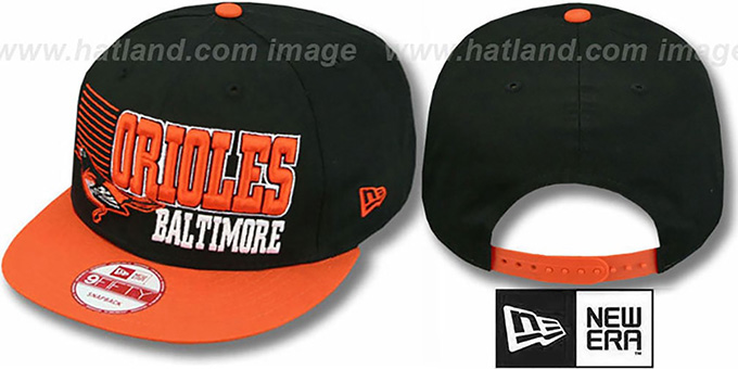 Orioles '2T BORDERLINE SNAPBACK' Black-Orange Hat by New Era : pictured without stickers that these products are shipped with