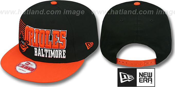 Orioles '2T COOP BORDERLINE SNAPBACK' Black-Orange Hat by New Era : pictured without stickers that these products are shipped with