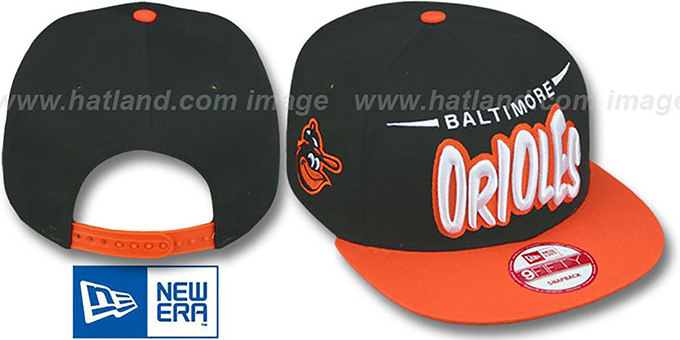 Orioles '2T COOP DOPETASTIC SNAPBACK' Black-Orange Hat by New Era : pictured without stickers that these products are shipped with