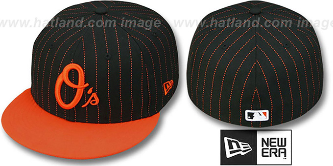 Orioles '2T DOT-PINSTRIPE' Black-Orange Fitted Hat by New Era : pictured without stickers that these products are shipped with