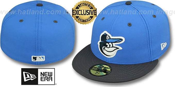 Orioles '2T-FASHION' Blue-Grey Fitted Hat by New Era : pictured without stickers that these products are shipped with