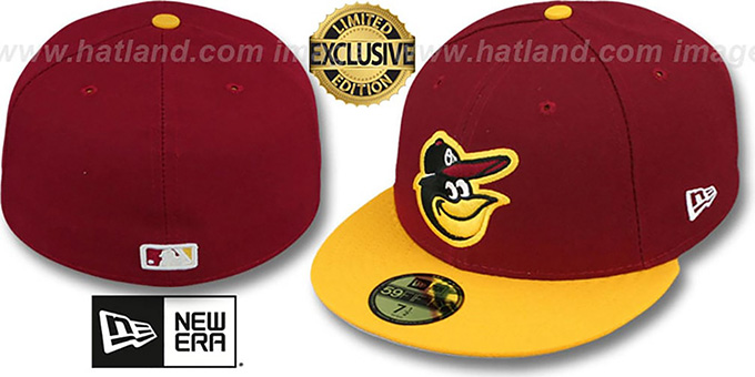 Orioles '2T-FASHION' Burgundy-Gold Fitted Hat by New Era : pictured without stickers that these products are shipped with
