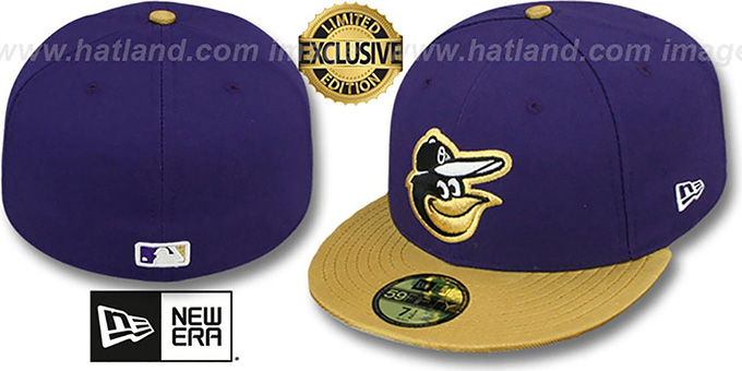 Orioles '2T-FASHION' Purple-Gold Fitted Hat by New Era : pictured without stickers that these products are shipped with