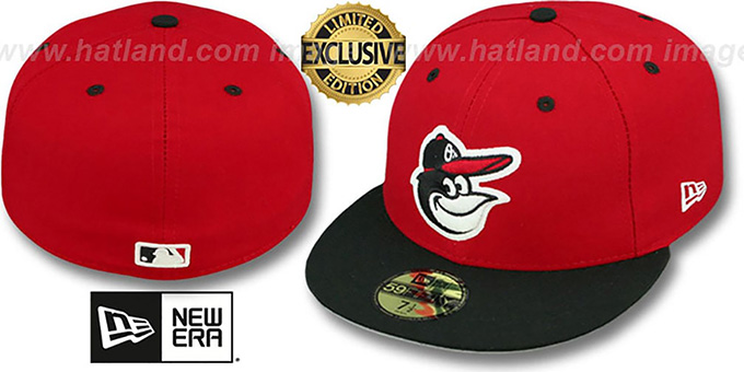 Orioles '2T-FASHION' Red-Black Fitted Hat by New Era : pictured without stickers that these products are shipped with