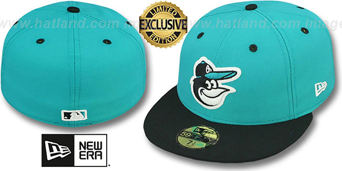 Orioles '2T-FASHION' Teal-Black Fitted Hat by New Era : pictured without stickers that these products are shipped with