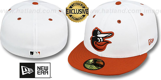 Orioles '2T-FASHION' White-Burnt Orange Fitted Hat by New Era : pictured without stickers that these products are shipped with