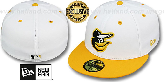 Orioles '2T-FASHION' White-Gold Fitted Hat by New Era : pictured without stickers that these products are shipped with