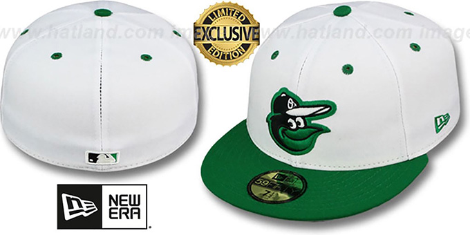 Orioles '2T-FASHION' White-Green Fitted Hat by New Era : pictured without stickers that these products are shipped with