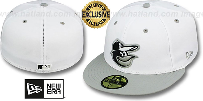 Orioles '2T-FASHION' White-Grey Fitted Hat by New Era : pictured without stickers that these products are shipped with