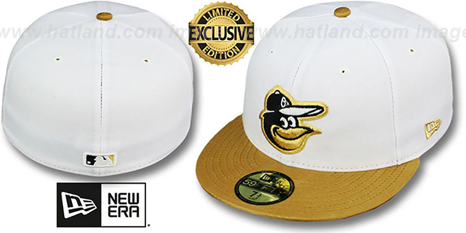 Orioles '2T-FASHION' White-Metallic Gold Fitted Hat by New Era : pictured without stickers that these products are shipped with