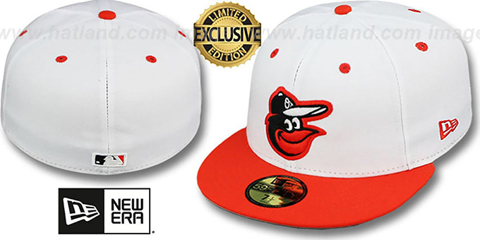 Orioles '2T-FASHION' White-Orange Fitted Hat by New Era : pictured without stickers that these products are shipped with