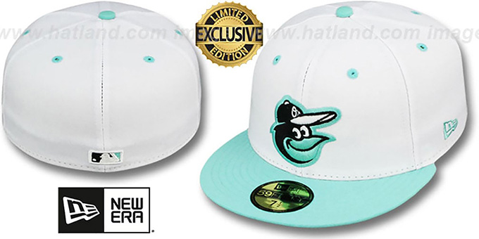 Orioles '2T-FASHION' White-Sea Foam Fitted Hat by New Era : pictured without stickers that these products are shipped with