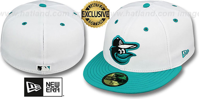 Orioles '2T-FASHION' White-Teal Fitted Hat by New Era : pictured without stickers that these products are shipped with