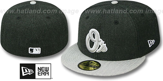 Orioles '2T-HEATHER ACTION' Charcoal-Grey Fitted Hat by New Era : pictured without stickers that these products are shipped with