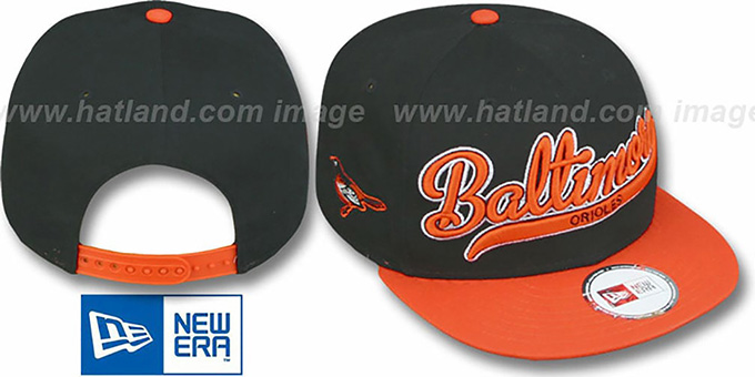 Orioles '2T SCRIPTER SNAPBACK' Black-Orange Hat by New Era : pictured without stickers that these products are shipped with