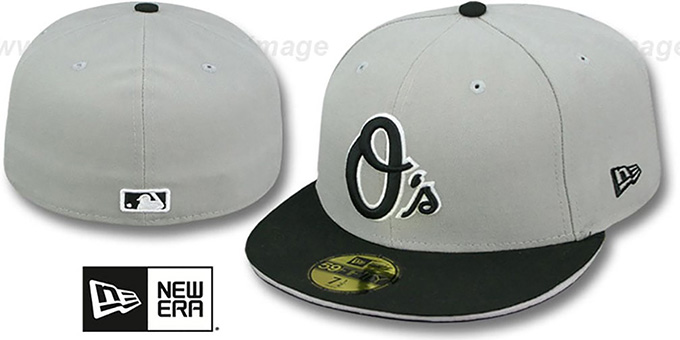 Orioles '2T SPLIT TEAM-BASIC' Grey-Black Fitted Hat by New Era : pictured without stickers that these products are shipped with