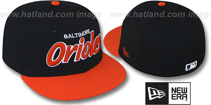 Orioles '2T TEAM-SCRIPT' Black-Orange Fitted Hat by New Era : pictured without stickers that these products are shipped with