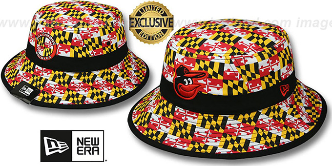 Orioles 'ALL-OVER MARYLAND FLAG BUCKET' Hat by New Era : pictured without stickers that these products are shipped with