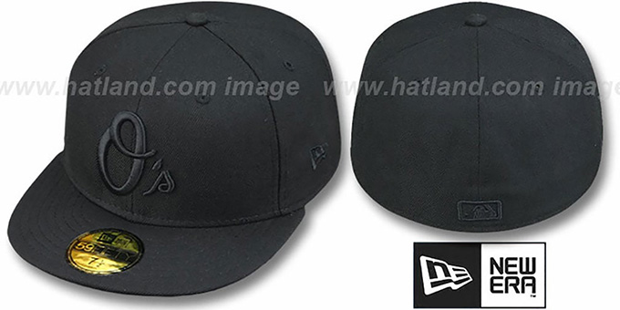 Orioles ALT 'BLACKOUT' Fitted Hat by New Era : pictured without stickers that these products are shipped with