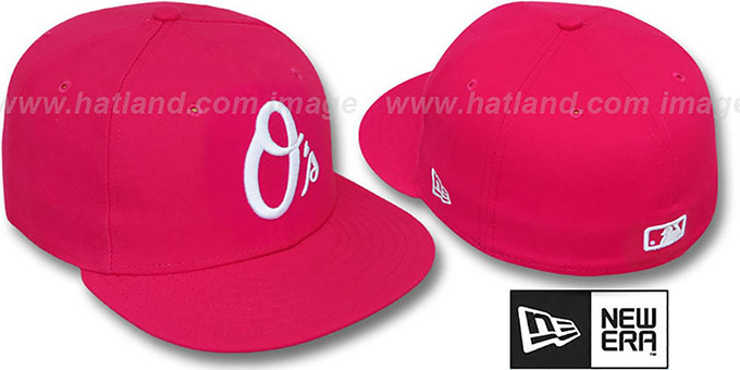 Orioles ALT 'SOLID FASHION' Fucsia-White Fitted Hat by New Era : pictured without stickers that these products are shipped with