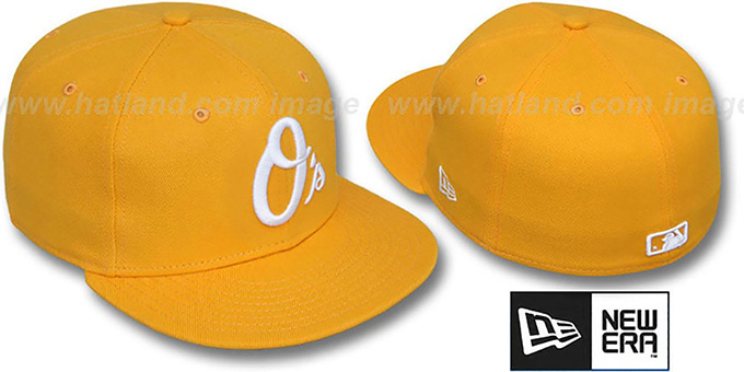 Orioles ALT 'SOLID FASHION' Gold-White Fitted Hat by New Era : pictured without stickers that these products are shipped with