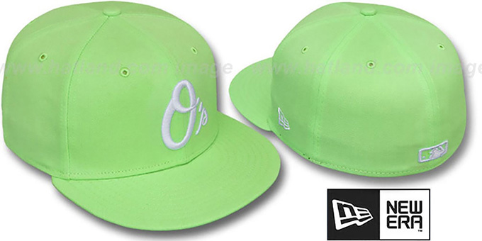 Orioles ALT 'SOLID FASHION' Melon-White Fitted Hat by New Era : pictured without stickers that these products are shipped with