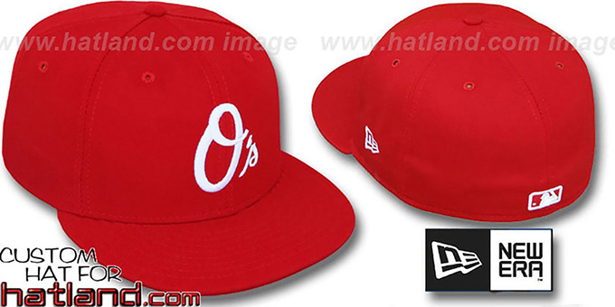 Orioles ALTERNATE Red-White '59FIFTY' Fitted Hat by New Era : pictured without stickers that these products are shipped with