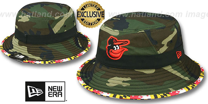 Orioles 'ARMY CAMO MARYLAND FLAG BUCKET' Hat by New Era : pictured without stickers that these products are shipped with
