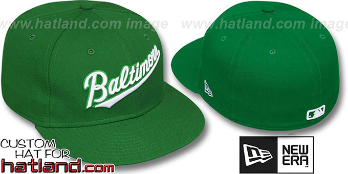 Orioles 'BALTIMORE SCRIPT' Green-White Fitted Hat by New Era : pictured without stickers that these products are shipped with