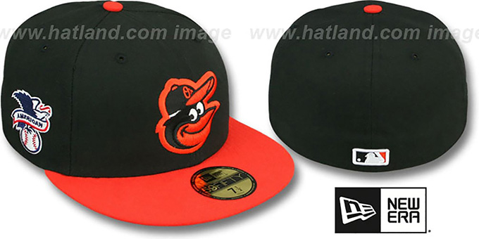 Orioles 'BAYCIK' ALT Black-Orange Fitted Hat by New Era : pictured without stickers that these products are shipped with