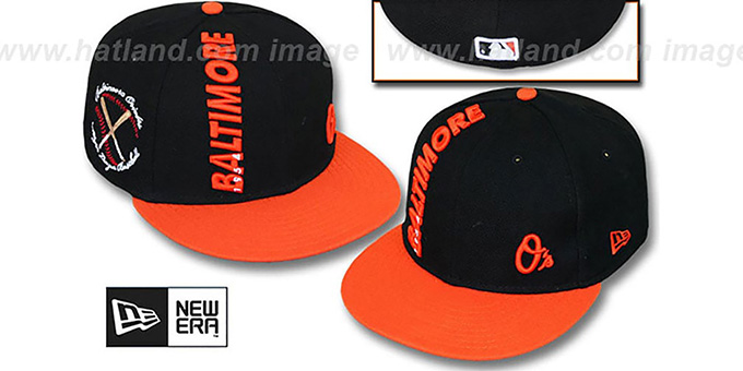 Orioles 'BEELINE' Black-Orange Fitted Hat by New Era : pictured without stickers that these products are shipped with