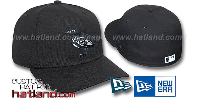 Orioles Black-Black Fitted Hat by New Era : pictured without stickers that these products are shipped with