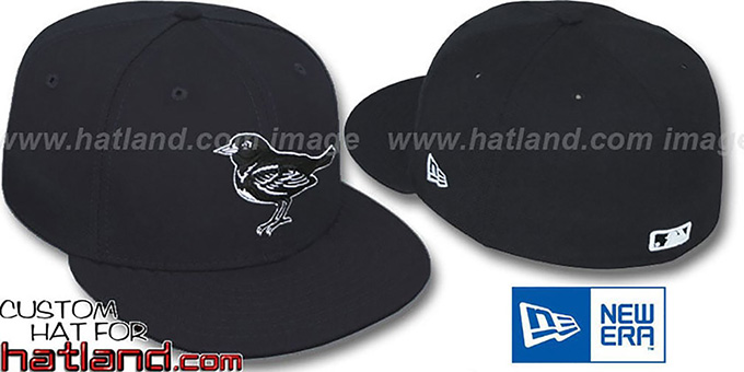 Orioles Black-Black-White Fitted Hat by New Era : pictured without stickers that these products are shipped with