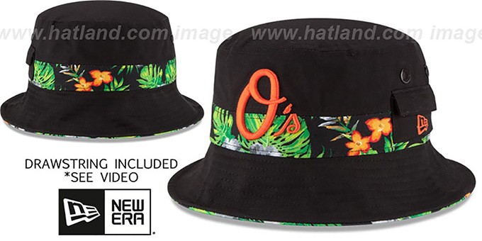 Orioles 'BLOOM SUB-BANDED' Black Bucket Hat by New Era : pictured without stickers that these products are shipped with