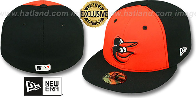 Orioles 'BP 2T-FASHION' Black-Orange Fitted Hat by New Era : pictured without stickers that these products are shipped with