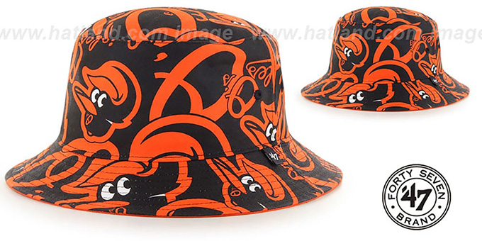 Orioles 'BRAVADO BUCKET' Hat by Twins 47 Brand : pictured without stickers that these products are shipped with