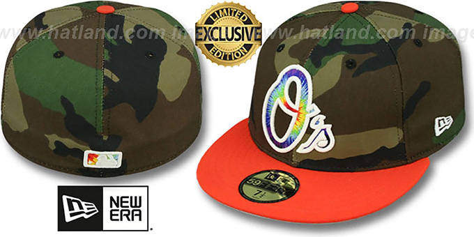 Orioles 'CAMO TYE-DYE INSIDER' Army-Orange Fitted Hat by New Era : pictured without stickers that these products are shipped with