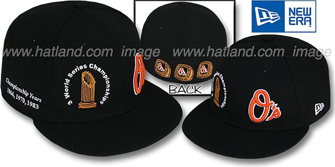 Orioles 'CHAMPIONSHIPS TROPHY' Black Fitted Hat by New Era : pictured without stickers that these products are shipped with