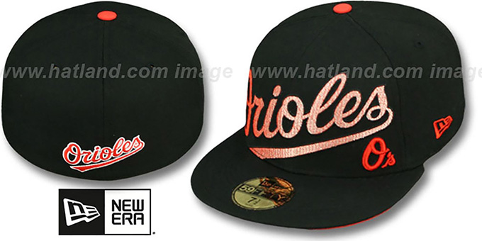 Orioles 'CHROMATIC' Black Fitted Hat by New Era : pictured without stickers that these products are shipped with