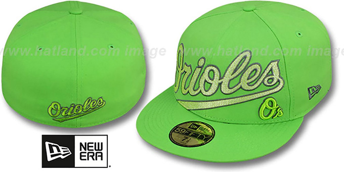Orioles 'CHROMATIC' Lime Fitted Hat by New Era : pictured without stickers that these products are shipped with