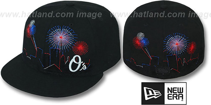 Orioles 'CITY-SKYLINE FIREWORKS' Black Fitted Hat by New Era : pictured without stickers that these products are shipped with