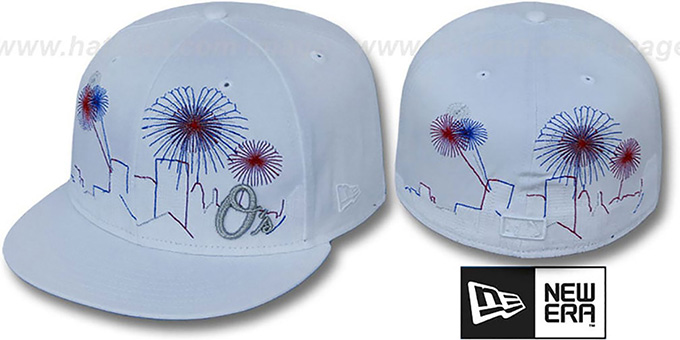 Orioles 'CITY-SKYLINE FIREWORKS' White Fitted Hat by New Era : pictured without stickers that these products are shipped with