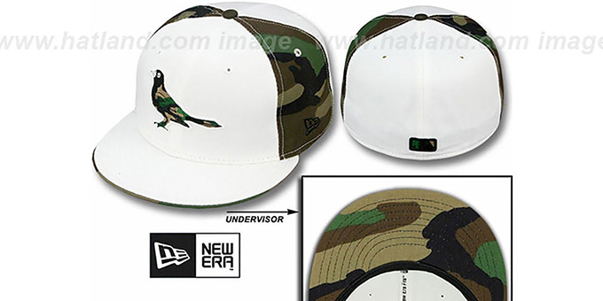 Orioles 'COLOR BLOCK' White-Army Camo Fitted Hat by New Era : pictured without stickers that these products are shipped with